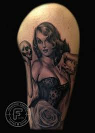 cat tattoos portrait pinup with skull