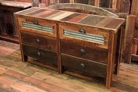 Reclaimed Wood Bedroom Furniture Barn Wood 6 Drawer Dresser Corrugated Metal In Top Drawers