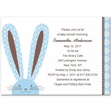 rabbit invitation rabbit baby boy shower invitation bs057