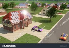 solar power city 3d concept renewable stock illustration 554403163