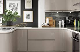 Grey Kitchens by Pale Grey Kitchens Gray Red Floating Rack Glass Pendant Lamps