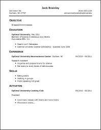 Resume No Experience Template Resume Template For College Student With Little Work Experience