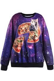 galaxy sweater purple cat galaxy print neck pullover sweatshirt hoodies