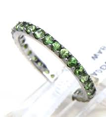 stackable ladies 14k gold 1 26 cts green garnet eternity