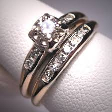 vintage wedding ring sets antique diamond wedding ring set vintage deco14k