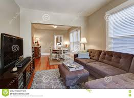 American Living Room Furniture American Living Room Interior With Brown Corner Sofa Stock Photo