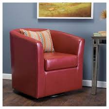 Orange Leather Swivel Chair Daymian Faux Leather Swivel Club Chair Red Christopher Knight