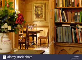 country house interior library dining room devon uk stock photo