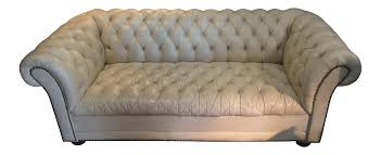 vintage cream leather chesterfield sofa chairish