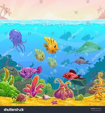 funny cartoon vector underwater illustration sea stock vector