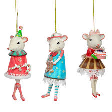 set of 3 white mouse ballerina tree ornaments the