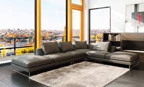 Modern Leather Sectional Sofas 5051 Modern Grey Leather Sectional Sofa