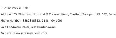 jurassic park in delhi address contact number of jurassic park in delhi
