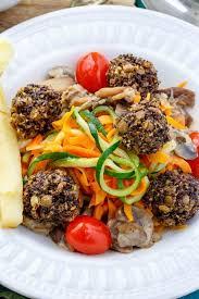 vegan mushroom gravy recipe lentil meatballs over vegetable noodles in a basil mushroom sauce