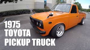 classic toyota truck car and truck videos stanced 1975 toyota pickup truck behind