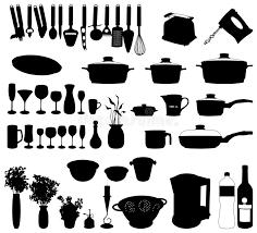 objets de cuisine objets de cuisine vecteur de silhouette illustration de vecteur