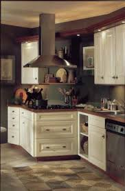 Antique Off White Kitchen Cabinets Getting Closer White Glazed Cabinets Dark Two Tier Island Brick