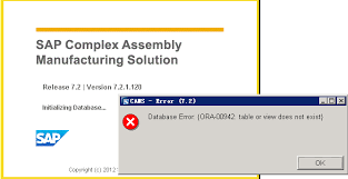 Ora 00942 Table Or View Does Not Exist Start Sap Cams App Error