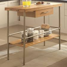 kitchen cart with solid bamboo top and metal legs