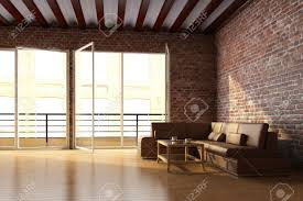 Brick Loft by Loft Interior With Brick Wall And Coffee Table Stock Photo