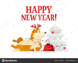 happy new year post card happy new year 2018 postcard template with the yellow dog