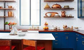 blue kitchen cabinets with copper hardware sparkling trend 25 gorgeous kitchens with a bright metallic