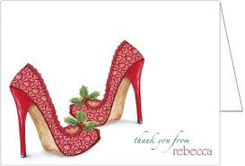 heels bridal shower thank you cards storkie