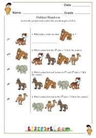 ordinal numbers mammals math worksheets for kids teachers printables