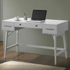 home office writing desk coaster mid century modern writing desk with 3 drawers in white