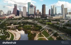 Buffalo Bayou Park Map Aerial View Skyline Downtown Houston Building Stock Photo