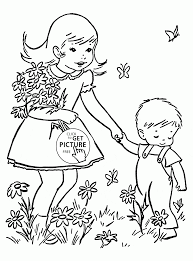 kids and spring flowers coloring page for kids seasons coloring