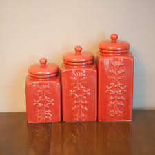 Pottery Kitchen Canisters Set Of Vintage Coral Ceramic Canisters Chinoiserie Kitchen