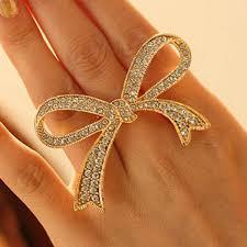 girls golden rings images Fasherati the big golden bow ring for girls jpg