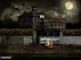 Halloween Costume Costumed Kids Trick Treat Halloween Haunted House Stock