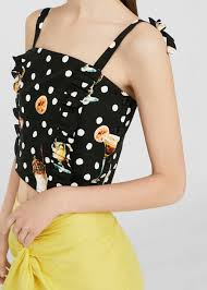 martini mango polka dot crop top women mango usa