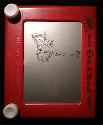 i was commissioned to draw deadpool and moon knight on an etch a