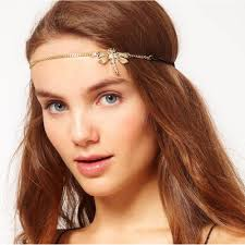 chain headband bohemian women metal pearl rhinestone chain forehead headband