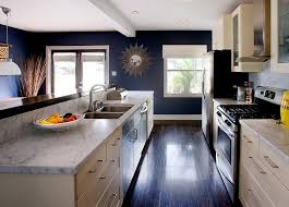 Blue Painted Kitchen Cabinets White Carrera Marble Cream Cabinets And Navy Blue Walls Define