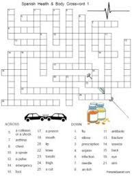 health u0026 body crossword 1 u2013 printable spanish