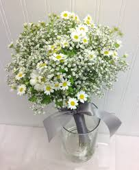 florist seattle bridesmaid bouquet of babies breath and chamomile designed by