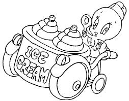 tweety and ice cream machine coloring page free printable