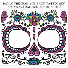 day of the dead face tattoo halloween accessory walmart com