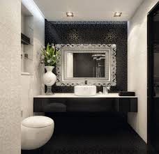 black and white bathroom wall decor white countertop sink above it