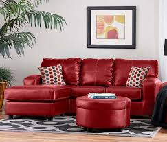 Red Floral Sofa by Black And Red Sitting Room Padded Cushions Gray Fur Rug Recessed