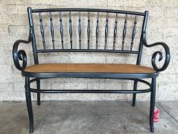 vintage cane seat settee bench