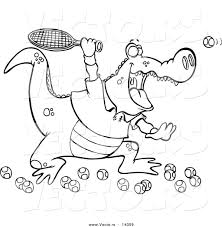 vector of a cartoon alligator playing tennis coloring page