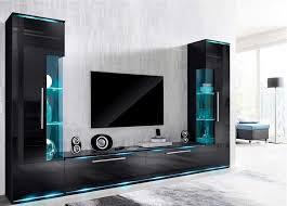 tapeten fr wohnzimmer mit weien hochglanz mbeln wohnwände schwarz auf wand tapete weiße design