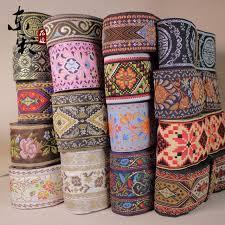 ribbon trim colorful 10yard lot ethnic national polyester woven jacquard ribbon