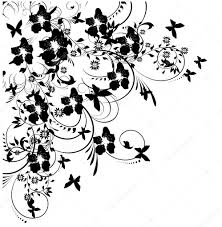 flowers and butterflies silhouette on white background u2014 stock
