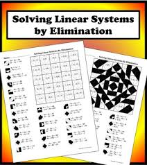 solving linear systems by elimination color worksheet by aric thomas